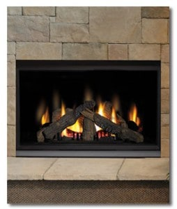 Gas fireplace presents a very realistic fire and efficient heating. Photo: Napolean Builders
