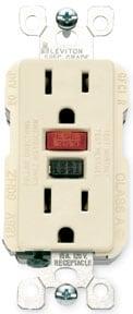 GFCI receptacle has a reset button.
