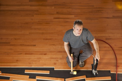 Installing a new floor in a DIY home improvement