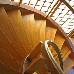 Curving circular custom staircase is beautiful in both form and function.