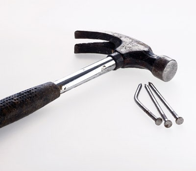 A curved-claw hammer is an essential for every household.