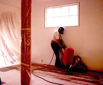sanding a wood floor