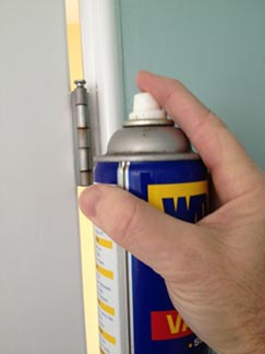 Silence a squeaky door by lubricating the hinge with WD-40 or penetrating oil.