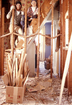 Tearing out a plaster wall gives dust and debris new meaning.