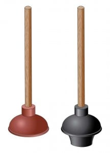 Flat plunger on left is for sinks, showers, and tubs. The bell-shape on the right is for toilets.