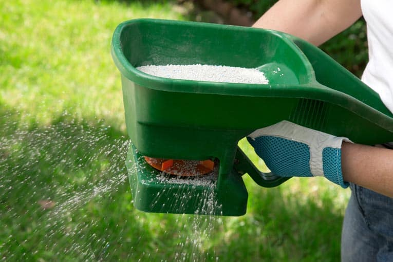 Simple fertilizer spreader distributes an even swath of fertilizer as you turn the handle.
