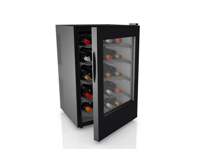 Wine refrigerator keeps quality wines at the perfect temperature.