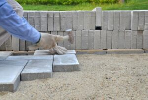 Rectangular concrete pavers offer a brick-like appearance.