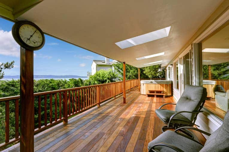 Skylights even work outdoors. Here they allow light into a wide covered veranda.