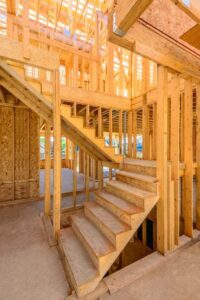 Framing for conventional built-in stairs is complex to build.