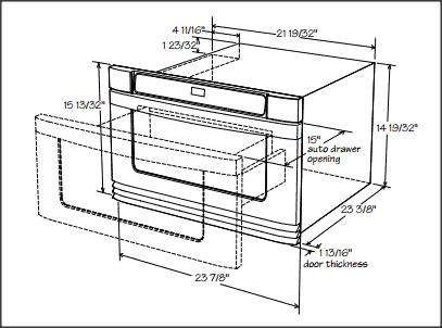 Key Installation Dimensions of a 24-inch Microwave Drawer