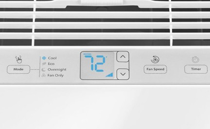 Digital control panel below an air conditioning unit's front grille.