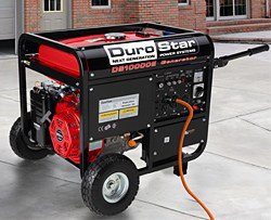 A DuroStar portable electric generator with two wheels.