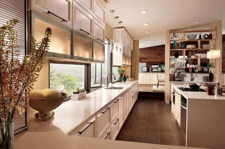 White maple cabinetry looks like its custom made, but utilizes many stock units.