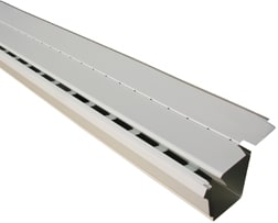 A solid-top and perforated gutter guard over a white background.