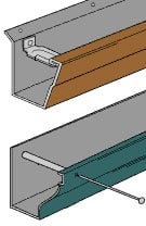 Diagram of a rain gutter mounting system, including hidden hanger and spike.