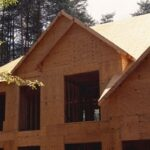 House's exterior including walls with plywood sheathing.