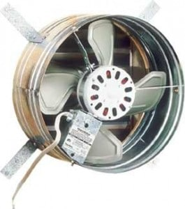 Electric gable fan vents when it's powered on, closes when off. Photo: Broan