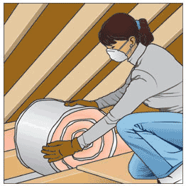 Blanket insulation just rolls out.