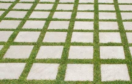 concrete pavers grass