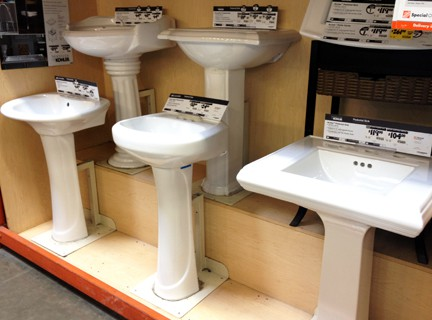 Pedestal sinks are sold in many styles and configurations.