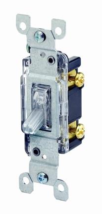 Single-pole light switch controls lights from one location. Photo: Leviton