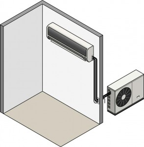 Cutaway illustration of a room with split ductless AC, including tubes connected to outdoor compressor.