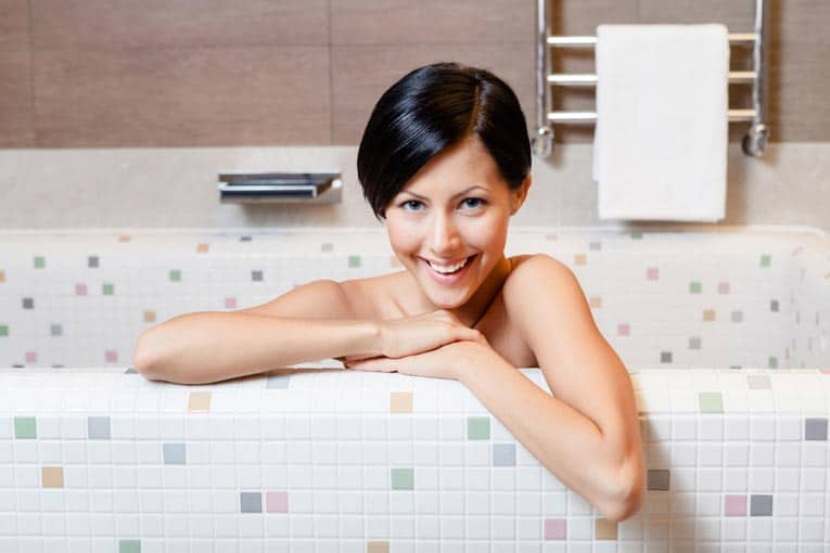 Mosaic tile covers the surface of this custom-made bathtub, an option that allows limitless flexibility.