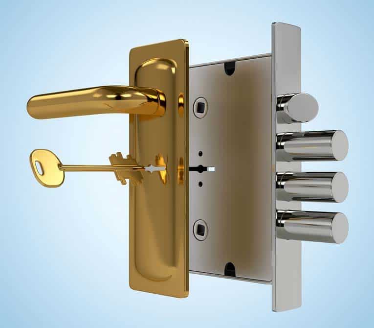 High-security mortise-style locksets can have multiple bolts made of case-hardened steel.