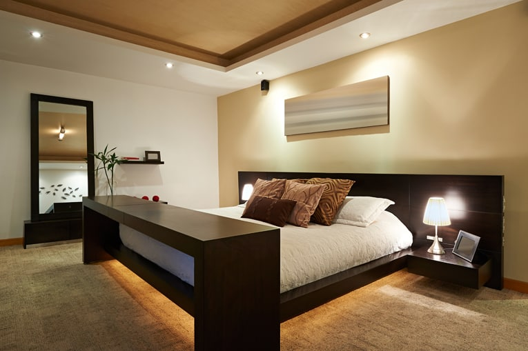 master bedroom with custom ceiling