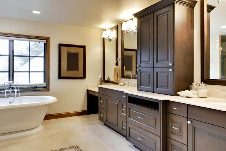 Faceframe cabinets feature doors that overlay the cabinet's front frame.