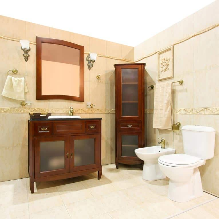 """Furniture-style cabinets really make a bathroom feel like a """"living space"""" while creating a strong sense of style."""