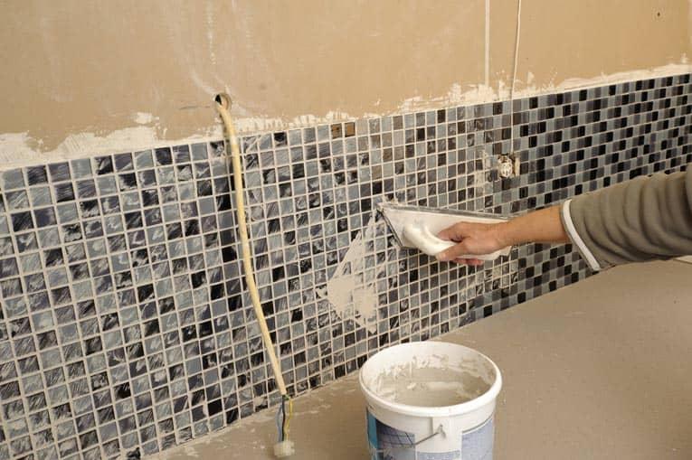 grouting mosaic tile backsplash