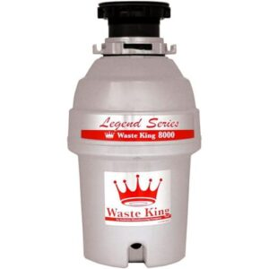 A continuous feed Waste King garbage disposer, over a white background.