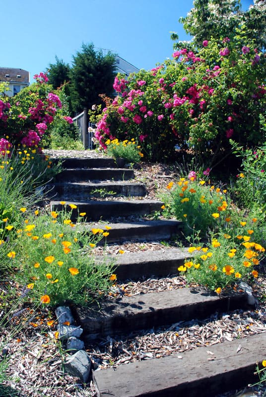 Wooden garden stairs made of repurposed railroad ties and wood chips.