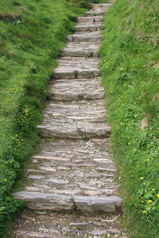 Mixed, broken stone pathway leading up a hillside.