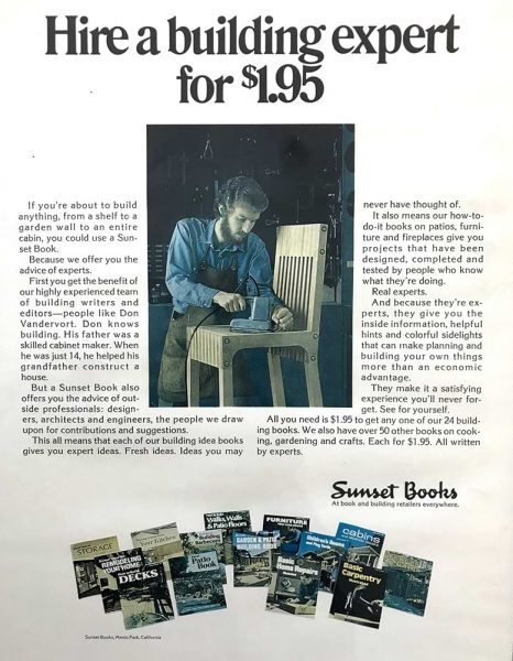 Don Vandervort appearing in an ad for Sunset Books woodworking